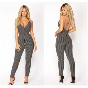 Fashion Nova Fade Away Striped Jumpsuit